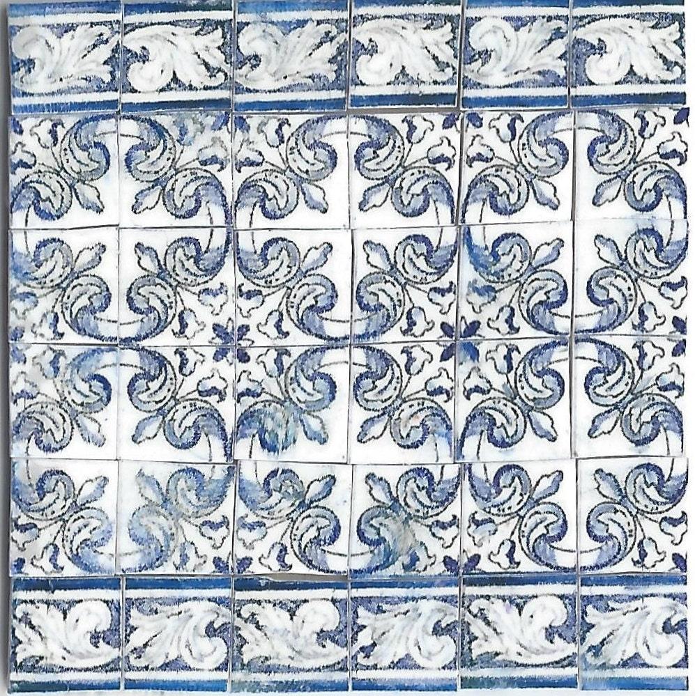 Dollhouse Miniature Ceramic Blue Amp White Wall Tile 1 12