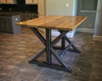 The Titan   Bar Height Birch And Steel Trestle Table