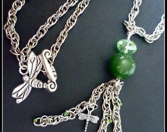Jade Dragonfly chain necklace