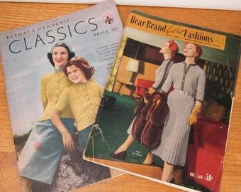 Vintage knitting pattern books 1945 Bernat's Handknit Classics by Alice Carroll and 1953 Bear Brand Hand Knit Fashions