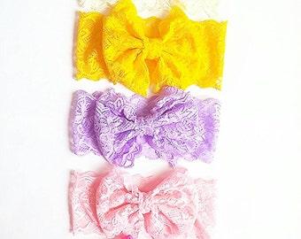 Lace headband big bow pink headband, pink big bow lace headband, large bow headband, pink lace headband, girls headband, bow tie headband