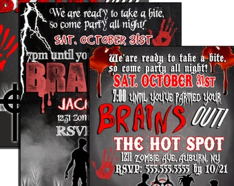 zombie party etsy - Zombie Halloween Invitations