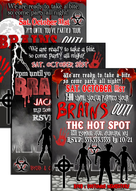 Zombie Party Invitations Printable