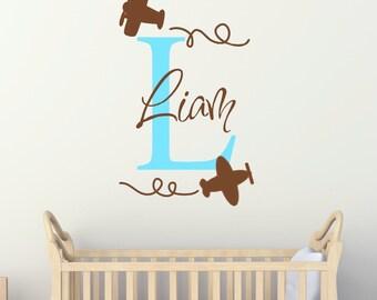 Airplane Wall Decal - Toddler Boy Airplane Wall Art - Airplane Monogram - Airplane Nursery - Airplane Wall Decor - Airplane Sticker