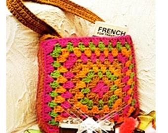 Crochet BAG Pattern Vintage 70s Granny Square Bag -Mesh Purse-Handbag Beach Bag- Carrybag Pattern