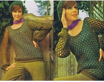 Crochet TOP Pattern Vintage 70s and Crochet Hat Pattern-2 Crochet Patterns Lot Crochet Mesh Top Bohemian Clothing-instant download