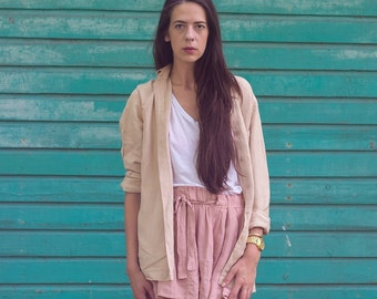 Vintage beige / camel linen shirt / long sleeve top slightly oversized overshirt 202