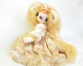 Interior toy fox - OOAK Handmade - Shabby chic decor - White fennec fox - Collectible item - 11.5 inch (29 cm) Princess Mimi