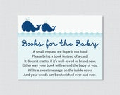 Whale Baby Shower Printable Bring a Book Instead of a Card Invitation Inserts - Nautical Baby Shower Stock Baby's Library Card - 0033-N
