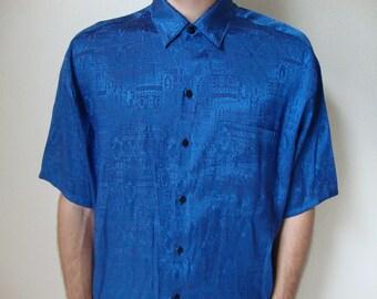 THAI SHIRT -blue, border print, tribal print, brush print, geometric print, classic, elegant, shiny, large, short sleeved, hipster, indie-