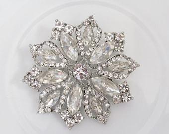 Rhinestone Brooch / Bridal Brooch / Crystal Brooch Component / SQB-3