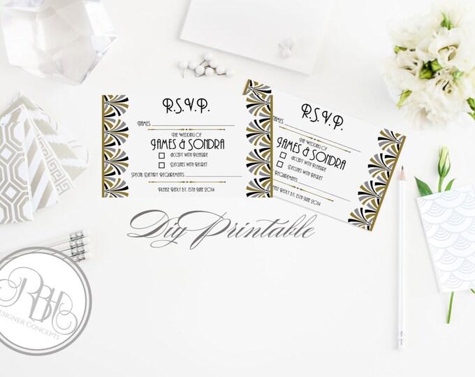 "INSTANT DOWNLOAD Template RSVP Reply Card Design - Art Deco Black Gold Silver Design-""Bridgette"""