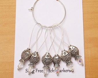 Silver Fish Stitch Markers, Snag Free Beaded Knitting Stitch Markers, Set of 6 silver plated Fish Bead stitch markers