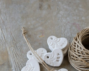 Personalized-12 Clay Decorated Heart Tags Ideal for Wedding/Wedding Favor/Decorating/Table