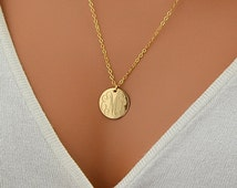 Large Disc Necklace, monogram Necklace, Gold Necklace, Circle Initial Necklace, Rose Gold, 14k Gold Fill, Sterling Silver Name Disc Necklace