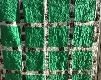 John Deere Quilt, Green Tractor, Block Quilt 60x75