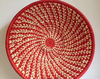 Hand Woven Sisal Basket - Spiral - Red/Natural