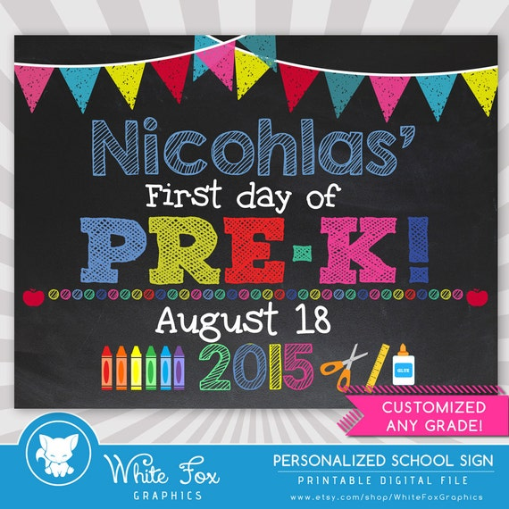 It's just an image of Striking First Day of Pre K Printable Sign