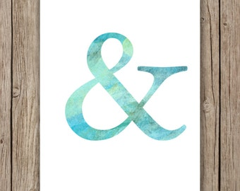 Watercolor Ampersand Design printable wall art instant download, Print Wall Art, Wedding Decor, Bedroom Decor, Nursery Art