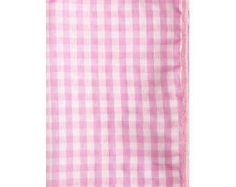 PInk and White Gingham Pocket Square