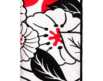 Black, White and Red Oversized Floral Print Pocket Square