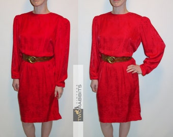 Vintage 1980s Argenti red silk long sleeve dress with nipped waist, zippered back, puffy sleeves, structured shoulders XS S M eighties 80s