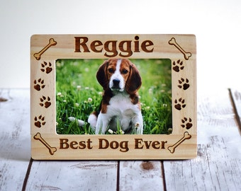 Christmas Gift Pet Frame - Personalized Pet Picture Frame Gift - Best Dog Ever Frame - Christmas Dog Frame - Pet Lover Gift