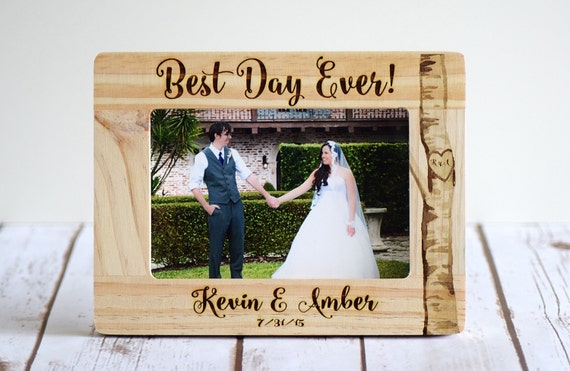 Engraved Wooden Wedding Photo Frames : Wedding Frame, Personalized Wedding Gift, Wood Burned Frame, Rustic ...