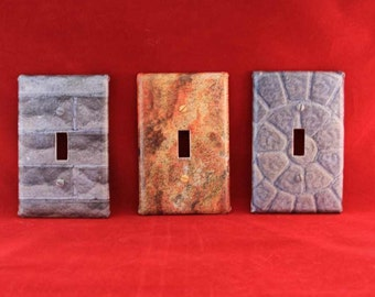 Brick pattern decoupaged light switch cover