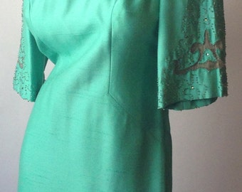 60s Vintage Teal Mod Dress with Beaded Sleeves