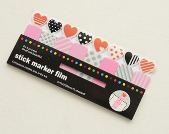 Stick Marker Film - Heart (15 Sheets x 8 pcs) Korean Stationery Funny Sticky Notes Post It Note N0240