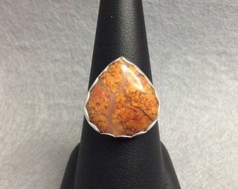 Handmade Natural Agate Sterling/Fine Silver Ring