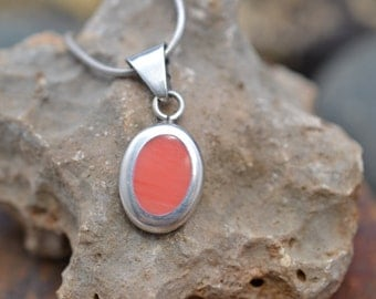 Sterling Silver Pink Coral Pendant on 16 in Snake Chain