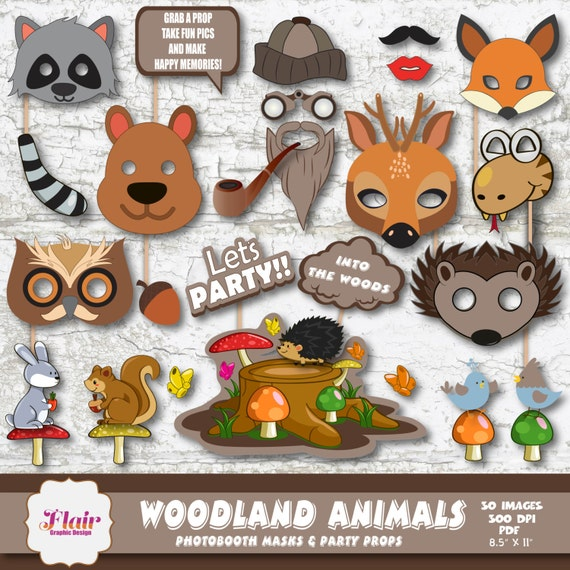 WOODLAND ANIMALS Photo Booth Masks and Party Props Printable