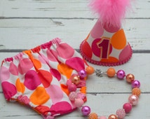 orange and pink polka dots Cake smash outfit for girl with  nappy cover, party hat and Necklace, 1st Birthday Outfit, Photography Prop,