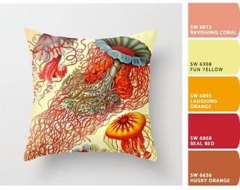 Ernst Haeckel pillow, jellyfish pillow, beach pillow,  jellyfish art, coastal pillow, beach house throw pillow, hostess gift jellyfish decor