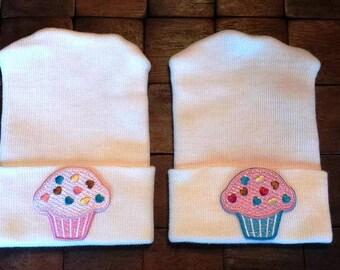 Twin Cupcake Hospital Hats - Newborn Hospital Hats - Baby Girl Hats - Cupcake Hats - Newborn Hats - Twin Hats - Newborn Baby Hats -TWINS