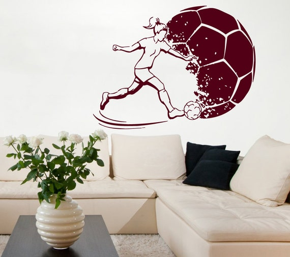 soccer wall decals girl football player by walldecalswithlove. Black Bedroom Furniture Sets. Home Design Ideas