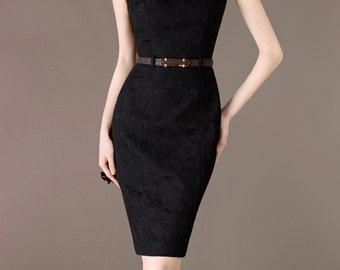 Vintage Black Lace Smart Dress Sleeveless Working Outfits Business Office Attire Plus Size Dress Custom Made Dress CC125