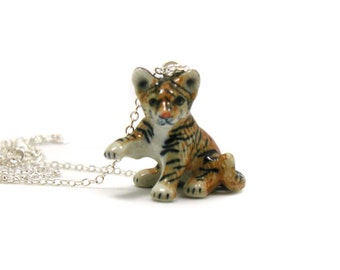 Tiger Cub Necklace, Charm Necklace, Charm Jewelry, Tiger Cub Pendant, Tiger Jewelry, Tiger Cub Charm, Jewelry Gift, Wildlife Necklace