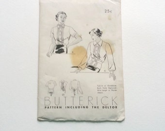 Vintage Butterick pattern for womens blouse 1940's