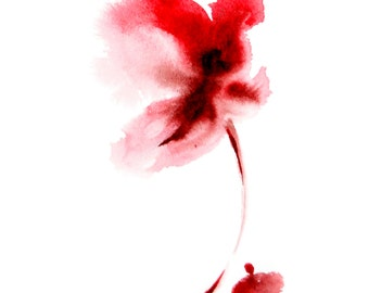 Minimalist Watercolor Painting Art Print, Red Flower, Abstract Flower, Red Flower Painting Wall art