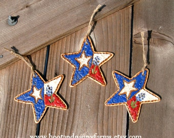 Set of 3 Texas Bluebonnet Stars / Texas Star Ornaments / Rustic Texas Ranch Farmhouse Decor / Texas Gift / Texas Christmas / Texas Art