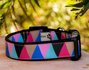 Items Similar To Pastel Dog Collar Geometric Print