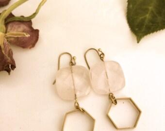 Rose Quartz Hexagon Drops // earrings