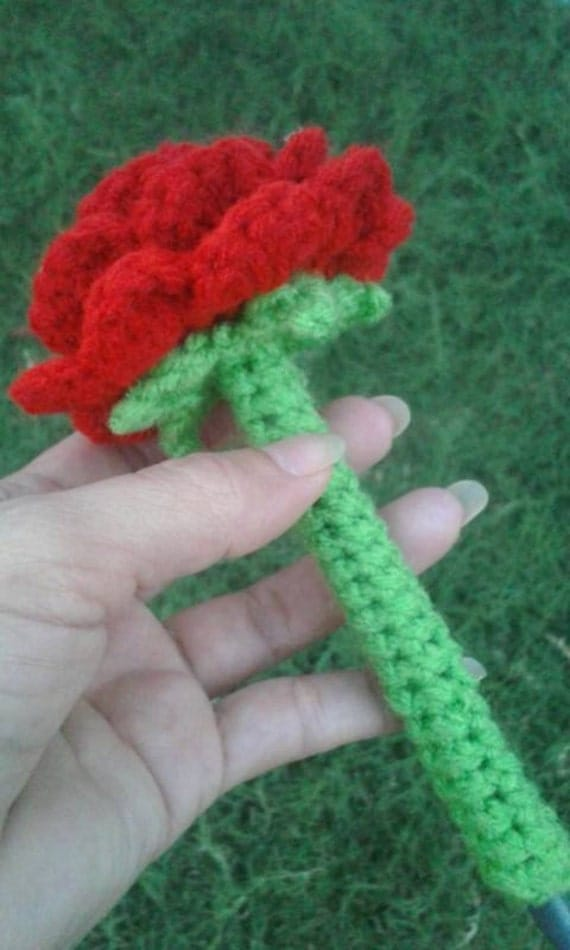Crochet Flower Pen Cozy Decorative Pen Crochet Rose Pen