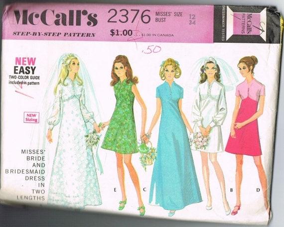Items Similar To 1970s Wedding Dress Pattern, Simple