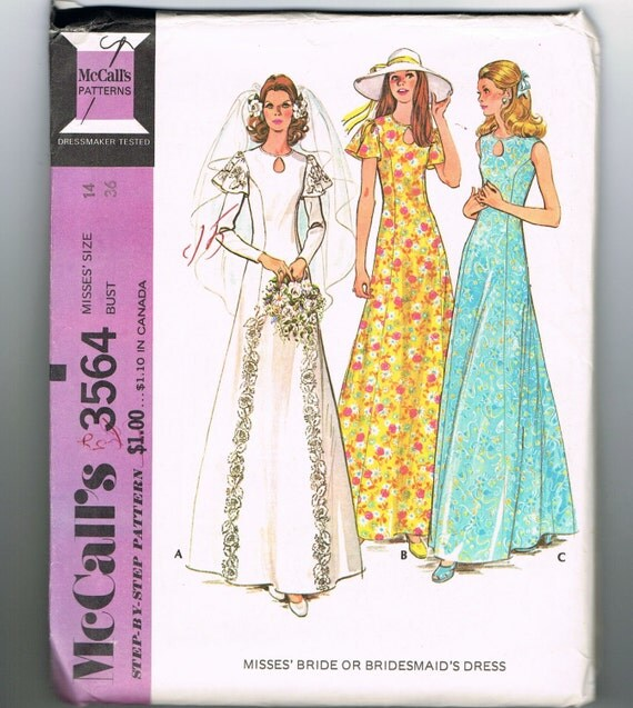 Wedding Gown Patterns With Sleeves: Items Similar To 1970s Wedding Dress Pattern, Bridesmaid