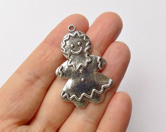 2 Gingerbread Charms - Girl Gingerbread - Antique Silver - Double Sided - #S0099