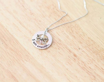 Hand Stamped Butterfly Pendant - Hand Stamped Jewelry